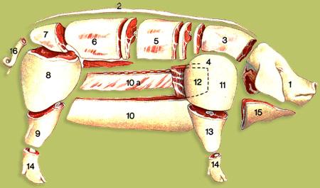Présentation des différents morceaux du porc