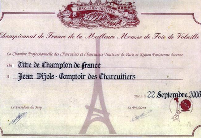 CHAMPION D'EUROPE de la meilleure mousse de foie de volaille à Paris